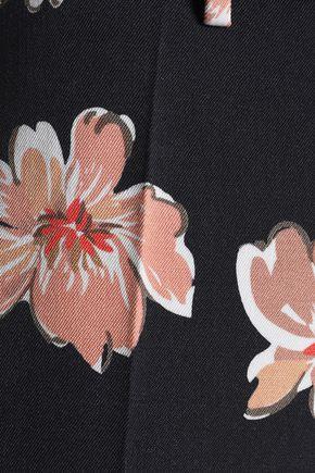 JOSEPH Floral-print wool-twill wide-leg pants