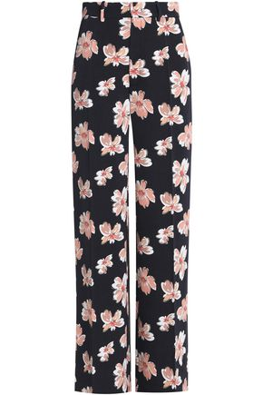 JOSEPH Floral-print wool-twill wide-leg pants