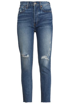 RE/DONE Distressed high-rise slim-leg jeans