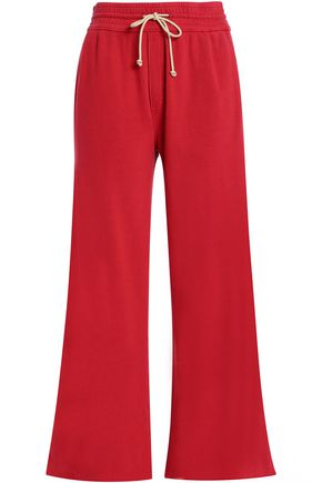 MOTHER French cotton-terry wide-leg pants
