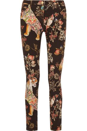 ETRO Printed stretch cotton-twill slim-leg pants