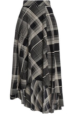 CO Asymmetric printed silk midi skirt