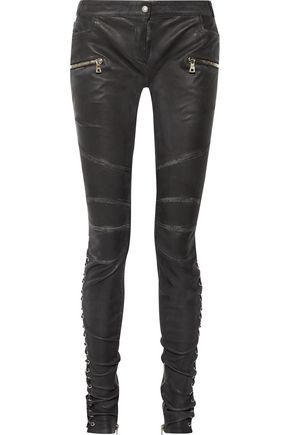 BALMAIN Lace-up leather skinny pants