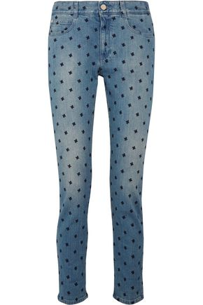 STELLA McCARTNEY Embroidered low-rise slim-leg jeans