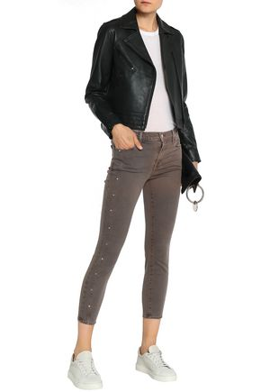 J BRAND Studded mid-rise cotton-blend skinny pants