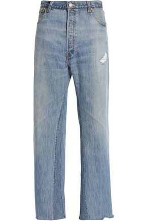 RE/DONE by LEVI'S Distressed high-rise wide-leg jeans
