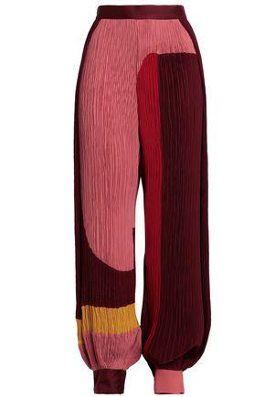 ROKSANDA Color-block plissé crepe tapered pants
