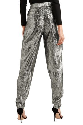 MICHAEL KORS COLLECTION Metallic crinkled jacquard tapered pants