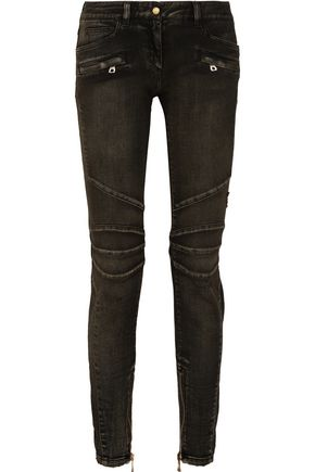 WOMAN MOTO-STYLE FADED LOW-RISE SKINNY JEANS BLACK