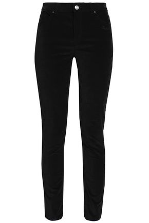 CLAUDIE PIERLOT Embroidered velvet slim-leg pants