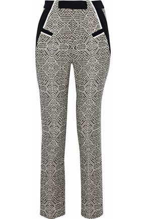 ROLAND MOURET Logan cropped crepe-trimmed tweed skinny pants