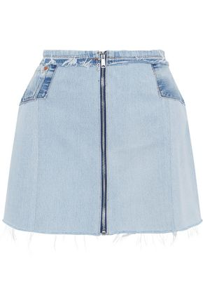 RE/DONE by LEVI'S Paneled distressed denim skirt