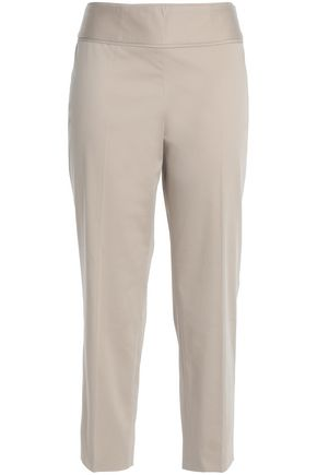 BOUTIQUE MOSCHINO Cropped cotton-blend slim-leg pants