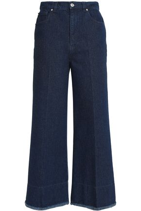 CEDRIC CHARLIER Metallic two-tone high-rise wide-leg jeans