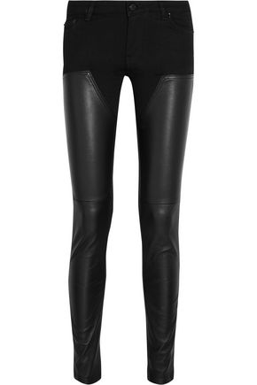 GIVENCHY Leather-paneled mid-rise slim-leg jeans