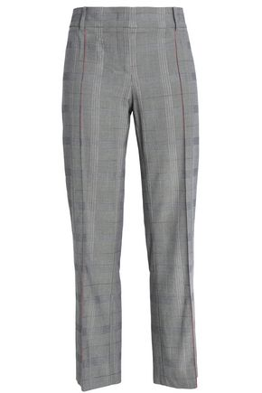 CEDRIC CHARLIER Cropped Prince of Wales checked cotton straight-leg pants