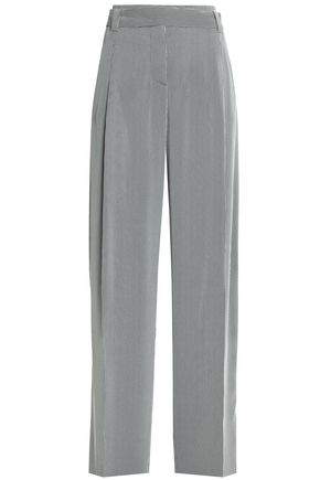 CEDRIC CHARLIER Pleated striped crepe wide-leg pants