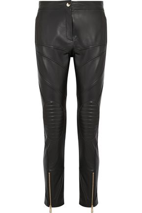 VERSACE Leather slim-leg pants