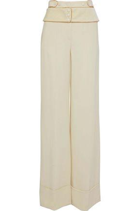ROBERTO CAVALLI Chain-embellished crepe wide-leg pants