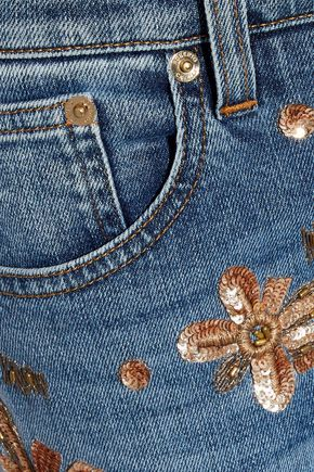ROBERTO CAVALLI Embellished faded low-rise skinny jeans