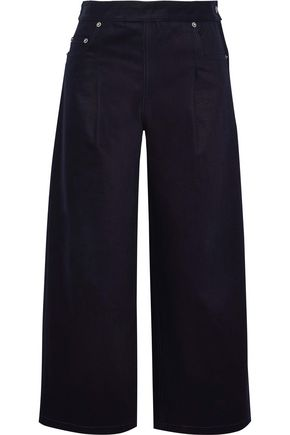 CHALAYAN Cropped coated mid-rise wide-leg jeans