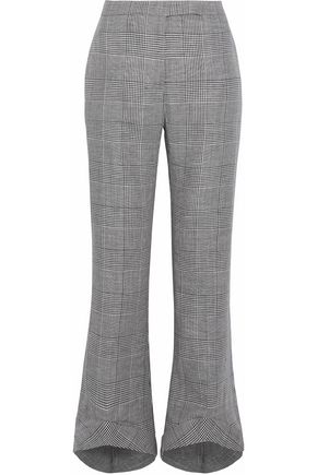 ANTONIO BERARDI Cropped Prince of Wales checked wool-blend flared pants