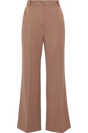 NINA RICCI Leather-trimmed wool-twill flared pants