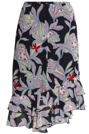 SEE BY CHLOÉ Asymmetric ruffle-trimmed floral-print silk skirt