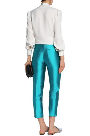ETRO Cropped silk-shantung tapered pants