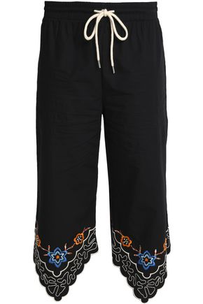 SEE BY CHLOÉ Embroidered cotton-poplin straight-leg pants
