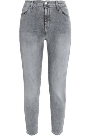J BRAND Zip-detailed faded mid-rise skinny jeans