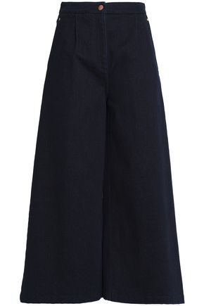OSMAN Cropped high-rise wide-leg jeans