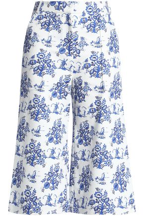 VICTORIA, VICTORIA BECKHAM Cropped printed high-rise wide-leg jeans