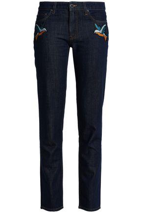 VICTORIA, VICTORIA BECKHAM Embroidered mid-rise slim-leg jeans