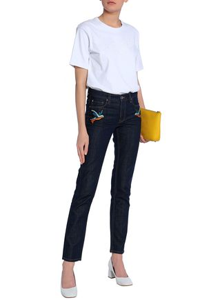 VICTORIA, VICTORIA BECKHAM Embroidered mid-rise slim-leg jeans