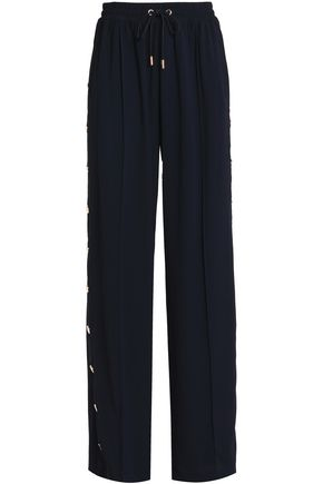 PERSEVERANCE Snap-detailed crepe wide-leg pants