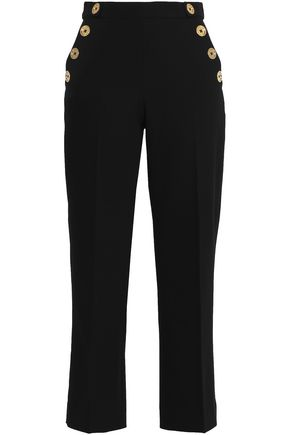 PERSEVERANCE Cropped button-embellished crepe straight-leg pants