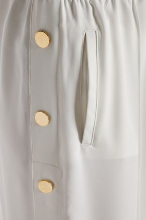 PERSEVERANCE Snap-detailed crepe wide-leg pants