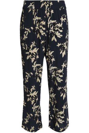 GANNI Printed crepe straight-leg pants