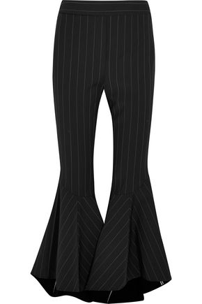 ELLERY Cropped pintstriped crepe flared pants