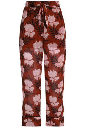 GANNI Floral-print georgette track pants