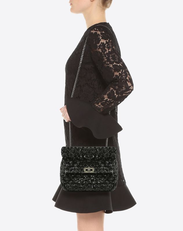 Medium Sequin Embroidered Spike Bag