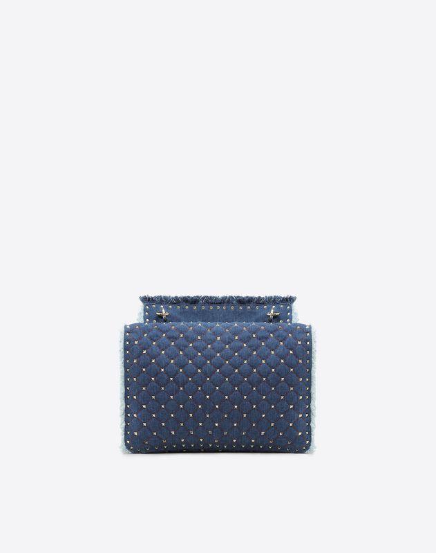 Maxi Denim Rockstud Spike Bag