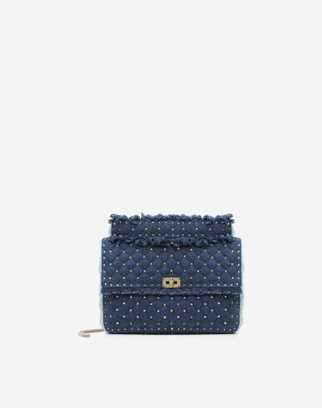 Maxi Denim Rockstud Spike Bag