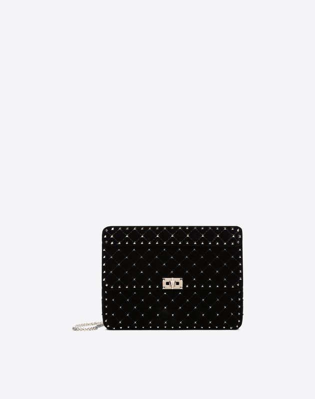 Large Velvet Rockstud Spike Bag