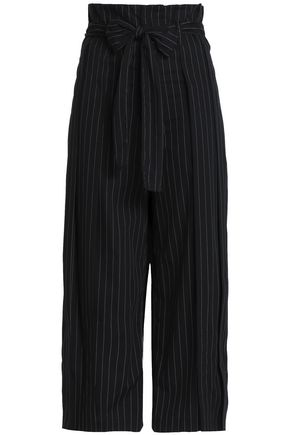 TOME Bow-detailed pinstriped cotton culottes
