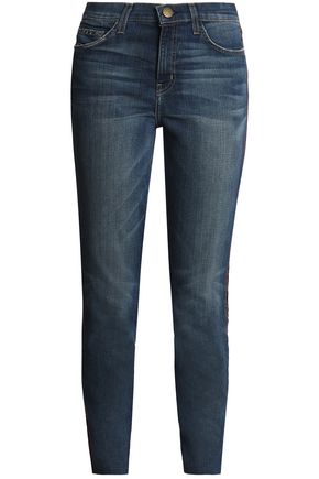 CURRENT/ELLIOTT The Stiletto velvet-trimmed mid-rise slim-leg jeans
