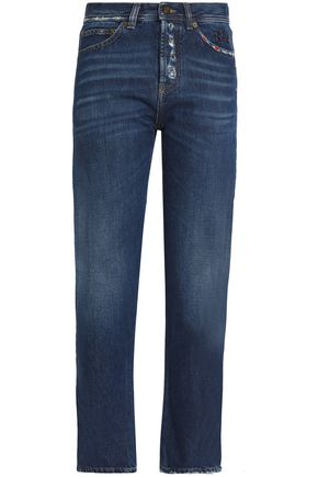 SAINT LAURENT Distressed high-rise slim-leg jeans
