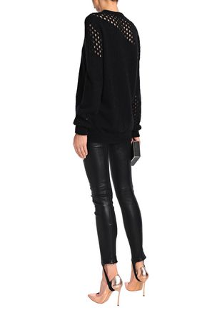 BALMAIN Stretch-leather slim-leg stirrup pants