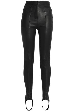 BALMAIN Stretch-leather slim-leg stirrup pants